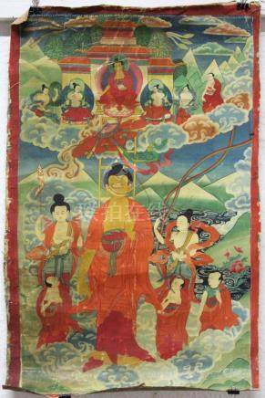 "Buddha Thangka, ""Descent from heaven. "" China / Tibet old."