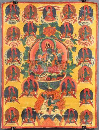 Amoghasiddhi ? Thangka, China / Tibet old.