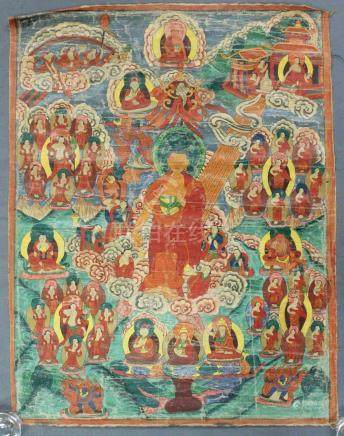"Thangka, ""Descent from heaven."" China / Tibet old."