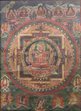 Buddha mandala, China / Tibet old. The ether space in green