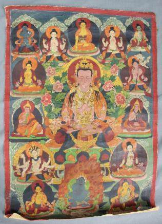 Amitabha Buddha, Thangka, China / Tibet old.