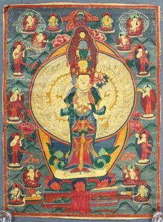 Thangka, China / Tibet old. Avalokiteshvara.