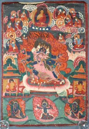 Thangka, China / Tibet old. Probably Yama / Mahakala.
