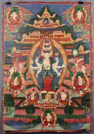 Avalokiteshavara Thangka, China / Tibet old.
