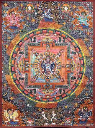 Kalachakra Mandala / wheel of life mandala, China / Tibet ol