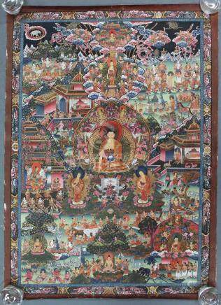 Buddha Thangka, probably representation of Guru Sakyasimha.