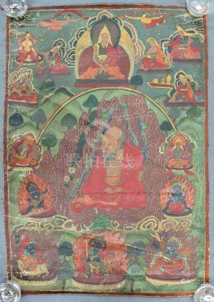 Thangka, China / Tibet old. In the center proably Lama with