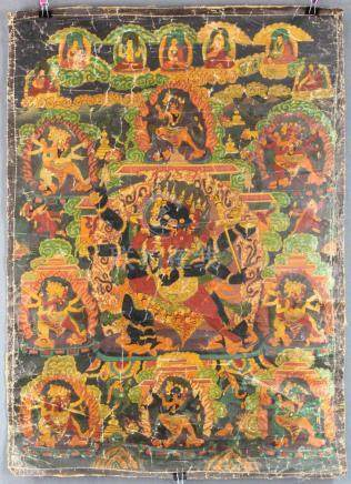 Proably Caturbhuja- Mahakala Thangka, China / Tibet old.