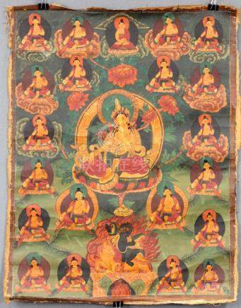 Yellow Tara ? Thangka, China / Tibet old.