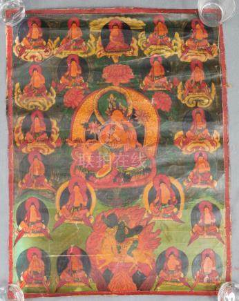 Yellow Tara ? On a lotus throne. Thangka, China / Tibet old.