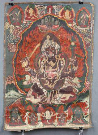 Caturbhuja - Mahakala ? Thangka, China / Tibet old.