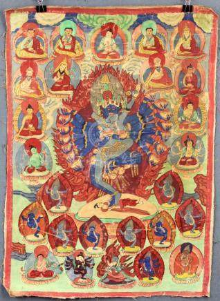 Chakrasamvara / Vajravarahi ? Thangka, China / Tibet old.