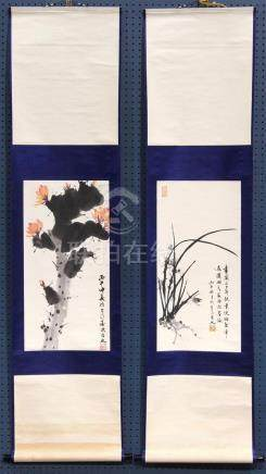 Chinese Scrolls, Mao Gewen, Orchids and Cactus