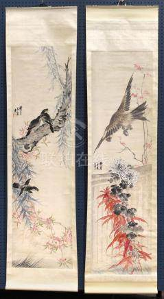 Chinese Scrolls, Fang Yuan Wuqin,Magpies and Hawk