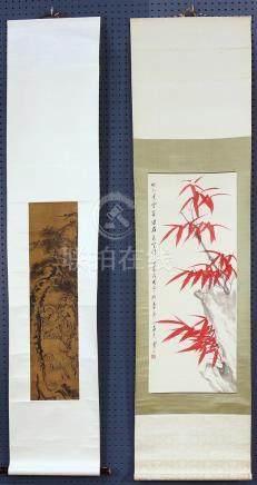 Chinese Scrolls: Wu Hanshan, Bamboo; Tieling, Deer