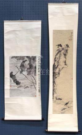 Chinese Scrolls Manner of Bada Shanren, Fish and Birds
