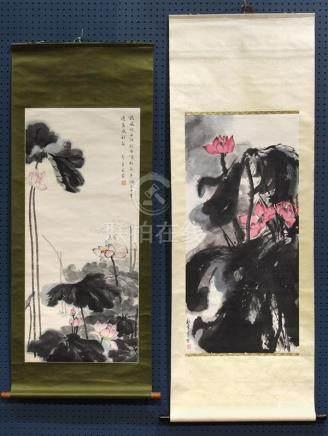 Chinese Scrolls, Lotus: Li Zhuotong, Zhou Yi