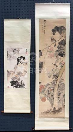 Chinese scrolls, Bird and Flower: Dong Bihong, Zhuyun