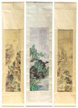 Chinese Scrolls, Landscape, Manner of Huang Yi, Liu Lie