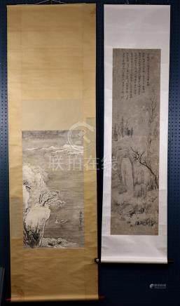 Chinese Scrolls, Landscape, Manner Xie Lansheng, Wu Zhen