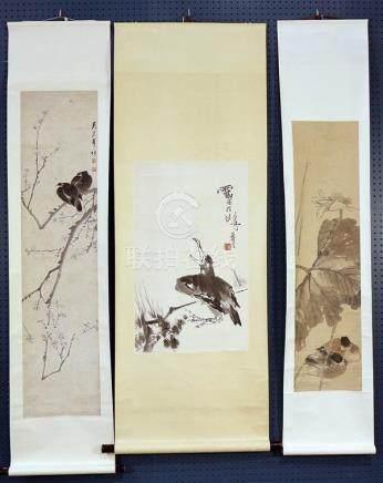 Chinese Scrolls, Manner of Pan Tianshou, Wu Shaofeng, Birds