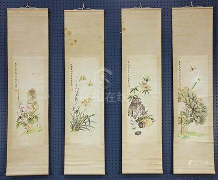 Chinese Scrolls, Manner of Ni Tian, Flowers