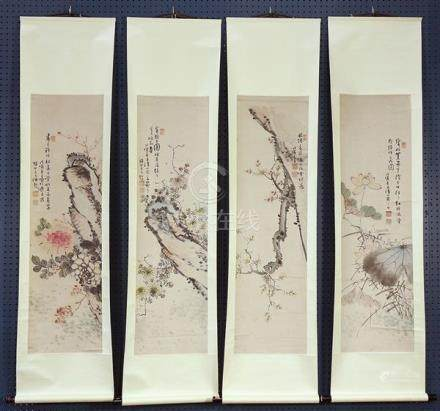 Chinese scrolls, Flowers of the Four Seasons, Meicun Jushi