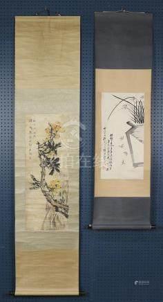 Chinese scrolls: Orchids, Di Jini; Loquat, Zhang Hua