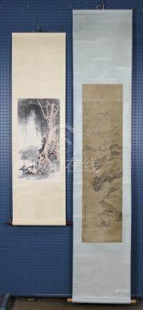 Chinese Scrolls: Li Ran, Ox Herder; Manner Sun Kehong, Monke