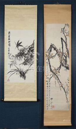 Chinese Scroll, Attr. to Gu Xia, Bamboo/Orchid; Prunus