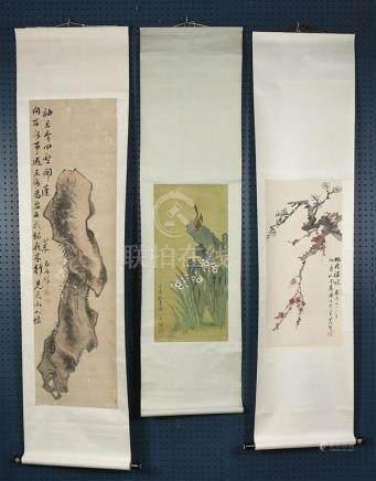 Three Chinese Scrolls, Flowers and Rocks