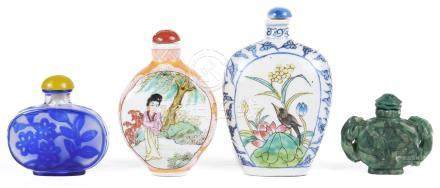 A collection of four Chinese snuff bottles 19th century To include: two enamelled snuff bottles
