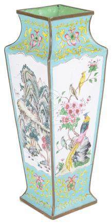 A Canton enamelled copper vase 19th century The square-based body vividly decorated with two