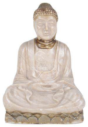 A Chinese soapstone carving Early 20th century Modelled as a Buddha sitting on a lotus flower in a