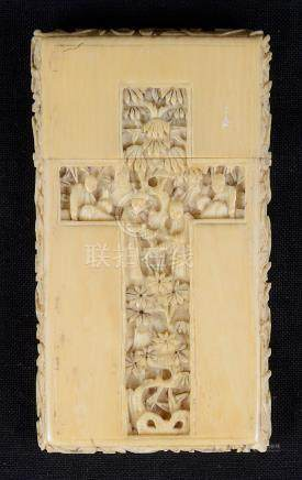 A Chinese ivory card holder 19th century Carved with scenes of biblical references within recessed