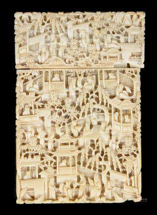 A Chinese ivory card holder 19th century Richly decorated with high relief carving of figures