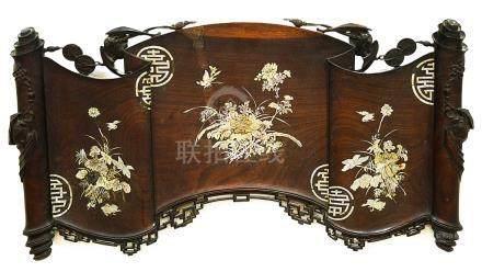 A Chinese Wedding Scroll: Qing Dynasty, rosewood,