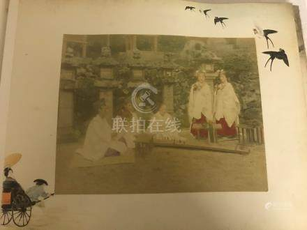 """A Japanese Painted Photograph Album of 10"""" x 8"""" coloured photos with hand-painted detail: numbered"""
