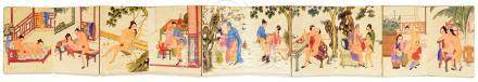 """A Chinese folding book 19th century """"Qing Gong Tu"""" (Spring Palace Painting) painted in watercolours"""