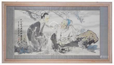 A Chinese ink watercolour depicting a young & old lady, signed with artist's seal mark & script,