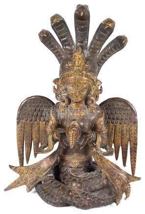 An Asian Bronze Figure: 19th/20th century, depicting Naga Kanya, the winged snake deity,