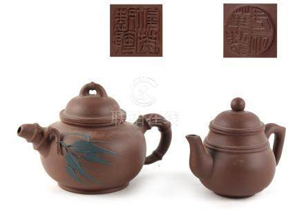 Property of a deceased estate - two Chinese Yixing teapots, both with impressed seal marks to