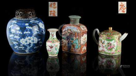 A group of four Chinese ceramics, 18th & 19th century, comprising a mandarin pattern tea caddy, a