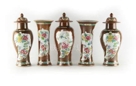 A Chinese cafe au lait ground famille rose five piece garniture, Qianlong period (1736-1795),