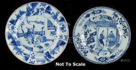 Property of a lady, acquired in the 1980's or early 1990's - two Chinese blue & white plates, Kangxi