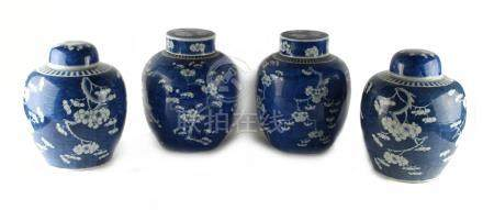 Two similar pairs of Chinese blue & white ovoid ginger jars with covers, 19th century, each