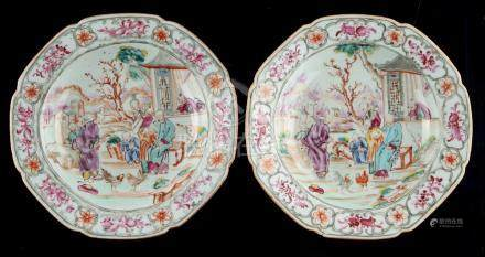 A pair of 18th century Chinese exportware porcelain octagonal dishes, each painted with a