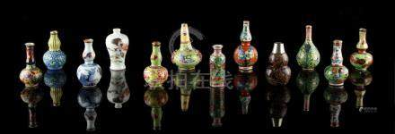 A private collection of Chinese ceramics & works of art - a collection of eleven miniature Chinese