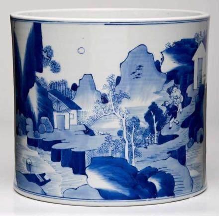 Cachepot/ zylindrische Vase,China wohl Anf. 20. Jh. Porzellan m. Malereidekor in Unterglasur-Blau.