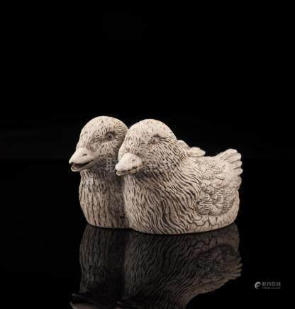 Dehua Porcelain Duck Twins, Daoguang Mark